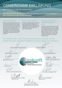 Gemeinsame Erklärung der Unternehmen von zukunft niederrhein als Bekenntnis zur Verantwortung gegenüber den Menschen und zum Umweltschutz in der Region.
